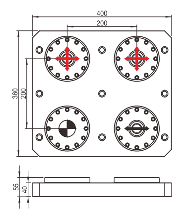 MTS base plate 360 x 400.